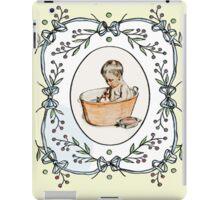 Vintage baby naming, baby in tub, invitation. iPad Case/Skin