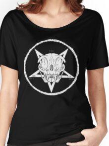 White Cult Cat Skull Women's Relaxed Fit T-Shirt