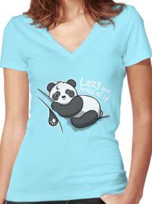 Lazy panda Women's Fitted V-Neck T-Shirt