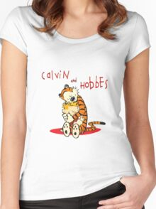 Calvin and Hobbes Big Hugs Women's Fitted Scoop T-Shirt