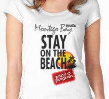 Stay On The Beach, Jamaica Women's Fitted Scoop T-Shirt