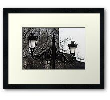 Intricate Ironwork Streetlights - Black and White Retro Chic with Crowns Framed Print