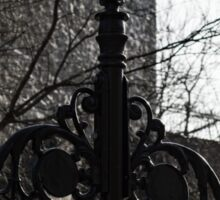 Intricate Ironwork Streetlights - Black and White Retro Chic with Crowns Sticker