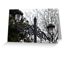 Intricate Ironwork Streetlights on an Interesting Green and Gray Background Greeting Card
