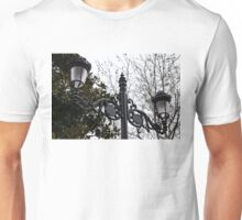 Intricate Ironwork Streetlights on an Interesting Green and Gray Background Unisex T-Shirt