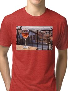 The Perfect Cocktail Hour Spot - a Glass of Wine With a Phenomenal View Tri-blend T-Shirt