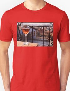 The Perfect Cocktail Hour Spot - a Glass of Wine With a Phenomenal View T-Shirt