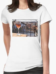 The Perfect Cocktail Hour Spot - a Glass of Wine With a Phenomenal View Womens Fitted T-Shirt
