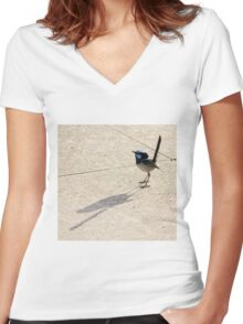 Superb Male Fairy Wren and it's Shadow Women's Fitted V-Neck T-Shirt