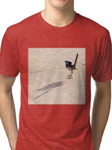 Superb Male Fairy Wren and it's Shadow Tri-blend T-Shirt