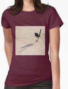 Superb Male Fairy Wren and it's Shadow Womens Fitted T-Shirt