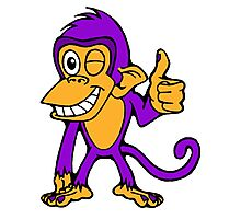Winking Monkey (Purple and Orange) Photographic Print