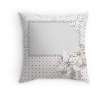 Frame ornament floral background Throw Pillow