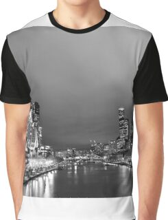Melbourne at night in Black and White Graphic T-Shirt