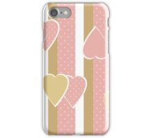 Patchwork retro vertical stripes geometrical hearts pattern texture background iPhone Case/Skin