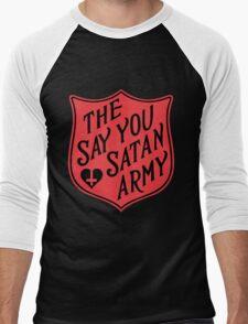 The Say You Love Satan Army 80s Horror Podcast Men's Baseball ¾ T-Shirt