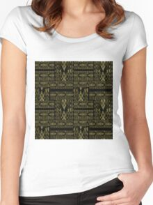 Patchwork seamless snake skin pattern texture Women's Fitted Scoop T-Shirt