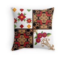 Colorful patchwork textile. Ethnic style. Throw Pillow