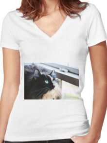 A Cat is a Poem Women's Fitted V-Neck T-Shirt