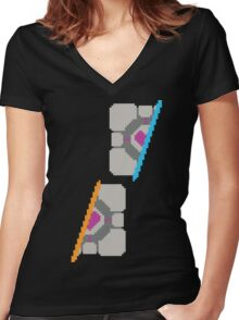 Pixel Companion Cube Women's Fitted V-Neck T-Shirt