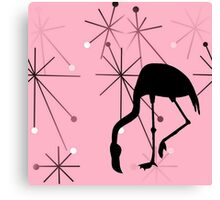 MidCentury Modern Atomic Starburst Pattern Flamingo Pink Canvas Print