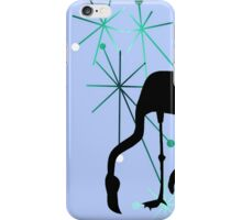 Retro MidCentury Modern Atomic Starburst Flamingo Pattern Blue iPhone Case/Skin