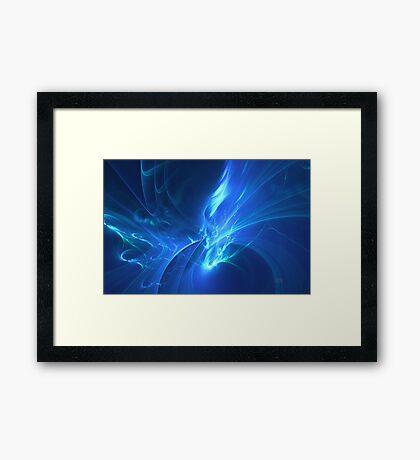 Electric Blue Fractal Framed Print
