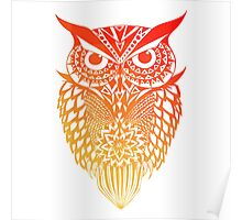 Owl orange gradient Poster