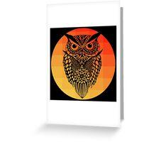 Owl orange gradient oo black bg Greeting Card