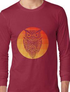 Owl orange gradient oo black bg Long Sleeve T-Shirt