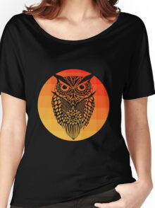 Owl orange gradient oo black bg Women's Relaxed Fit T-Shirt