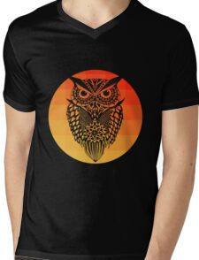 Owl orange gradient oo black bg Mens V-Neck T-Shirt
