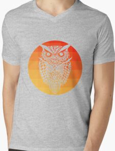 Owl orange gradient oo black bg Mens V-Neck T-Shirt