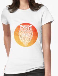 Owl orange gradient oo black bg Womens Fitted T-Shirt