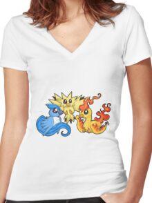 Pokemon Kanto legendary birds Women's Fitted V-Neck T-Shirt