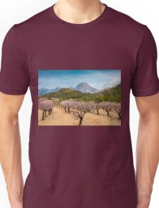 Almond blossom and mountains Unisex T-Shirt