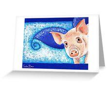 Painted Piggy Portrait Greeting Card