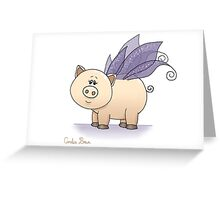 Triple Wings Piggy II Greeting Card