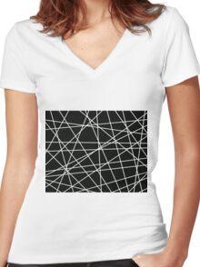 White Lattice Women's Fitted V-Neck T-Shirt