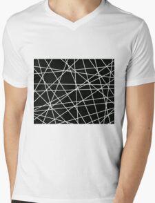 White Lattice Mens V-Neck T-Shirt