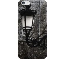 Intricate Ironwork Streetlights - Black and White Retro Chic with Crowns iPhone Case/Skin