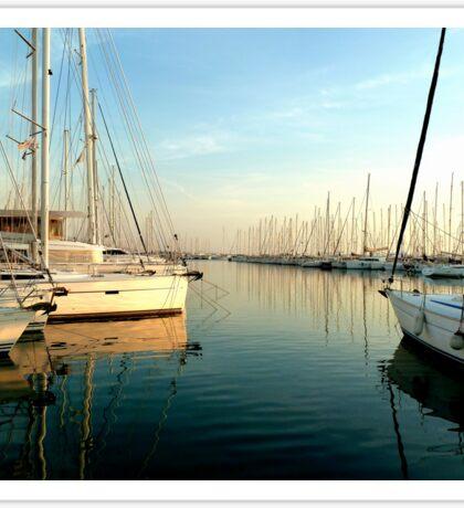 Greek sailingboats at the marina Sticker