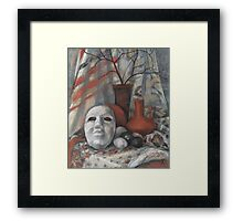 Stil life with the mask in grey and terracotta colours  Framed Print
