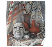 Stil life with the mask in grey and terracotta colours  Poster