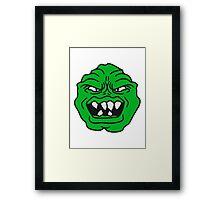 ugly face monster horror halloween grimace eat green head Framed Print