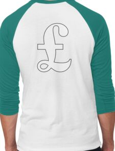 MONEY, £, POUND, Pound sign, currency, symbol, sign, success, finance, lucre, WHITE on Black Men's Baseball ¾ T-Shirt