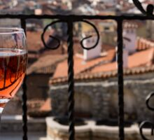 A Dreamy Glass of Rose - Enjoying a Fabulous View from a Wrought Iron Balcony Sticker