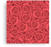Retro floral  pink roses pattern, digital print  Canvas Print