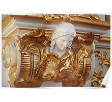 mascaron female head in the Baroque style Poster