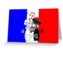 Ooh La La Cat Lovers In Romantic Paris France Greeting Card